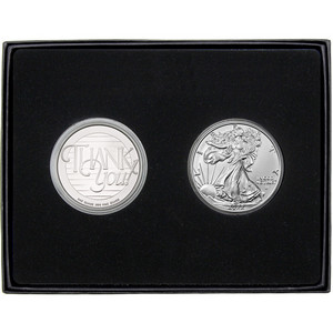 Thank You Silver Round and Silver American Eagle 2pc Gift Set