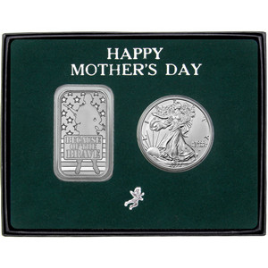 Happy Mother's Day Because of the Brave Silver Bar and Silver American Eagle 2pc Gift Set