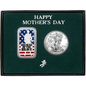 Happy Mother's Day Enameled Because of the Brave Silver Bar and Silver American Eagle 2pc Gift Set