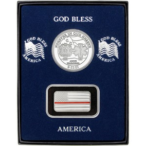 9/11 Tribute Silver Medallion and Half Ounce Red Line Enameled American Flag Silver Bar 2pc Gift Set