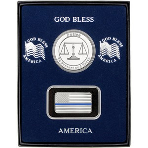 Half Ounce Enameled Blue Line American Flag Silver Bar and Police Silver Medallion 2pc Gift Set
