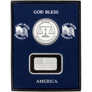 Half Ounce American Flag Silver Bar and Police Silver Medallion 2pc Gift Set