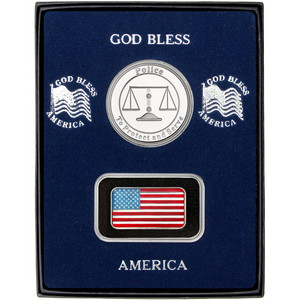 Half Ounce Enameled American Flag Silver Bar and Police Silver Medallion 2pc Gift Set
