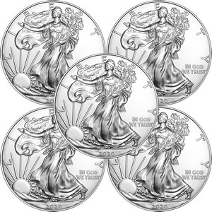 2020 Silver American Eagle BU Coin 5pc in Flips