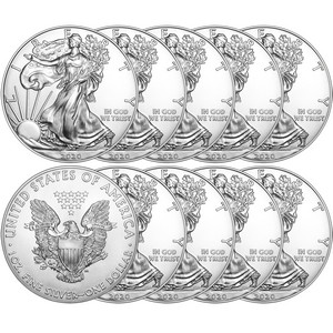 2020 Silver American Eagle BU Coin 10pc in Flips