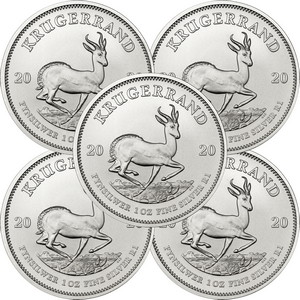 2020 South Africa Silver Krugerrand 1oz BU Coin 5pc in Flips