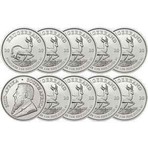 2020 South Africa Silver Krugerrand 1oz BU Coin 10pc in Flips