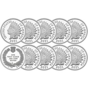 2020 Indian Head Cent Replica 1oz .999 Silver Medallion 10pc
