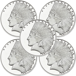 SilverTowne Trademark $10 Gold Indian Replica Struck in 1oz .999 Silver Medallion 5pc
