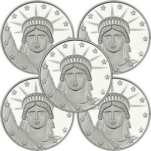 Lady Liberty 1oz .999 Silver Medallion 5pc