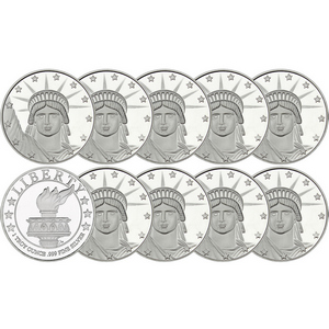 Lady Liberty 1oz .999 Silver Medallion 10pc