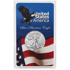 2019 Silver American Eagle BU in Eagle/Flag Gift Holder