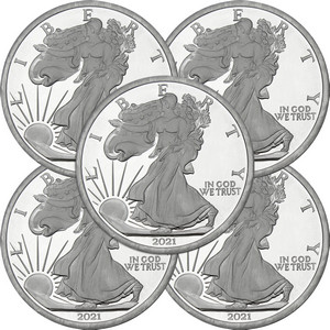 2019 Silver American Eagle Replica 5oz .999 Silver Medallion 5pc