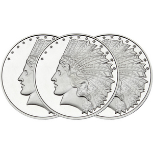 SilverTowne Trademark $10 Gold Indian Replica Struck in 1oz .999 Silver Medallion 3pc
