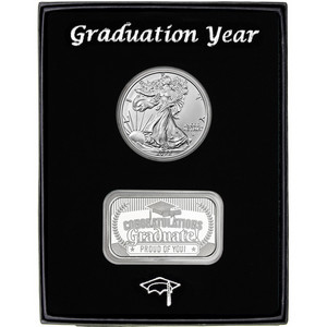 Graduation Year 2019 Silver Bar and Silver American Eagle 2pc Gift Set