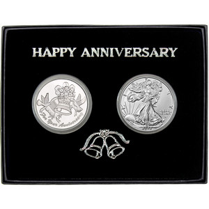 Happy Anniversary Silver Round and Silver American Eagle 2pc Gift Set