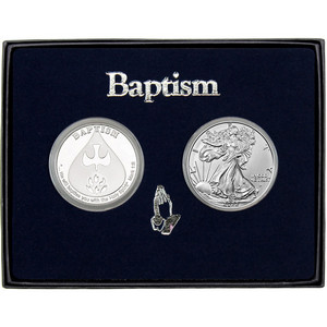 Baptism Silver Round and Silver American Eagle 2pc Gift Set