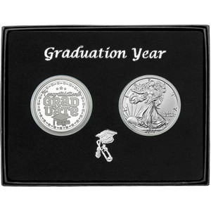 Graduation Year 2019 Silver Round and Silver American Eagle 2pc Gift Set