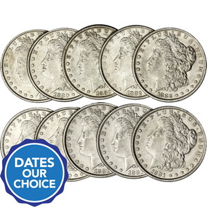 Pre-1921 Silver Morgan Dollars 10pc Dates Our Choice XF-AU