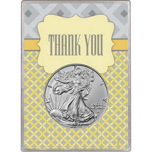 2018 Silver American Eagle BU in Thank You Gift Holder