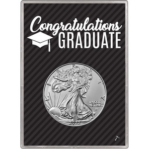 2019 Silver American Eagle BU in Graduation Gift Holder