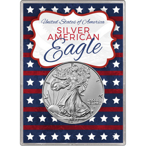 2019 Silver American Eagle BU in Patriotic Stars and Stripes Gift Holder