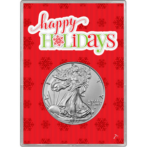 2019 Silver American Eagle BU in Happy Holidays Gift Holder