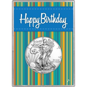 2019 Silver American Eagle BU in Blue Happy Birthday Gift Holder