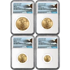 2018 Gold American Eagle 1oz ($50) 1/2oz ($25) 1/4oz ($10) and 1/10oz ($5) Ounce 4pc Set MS70 ER NGC Bald Eagle Label