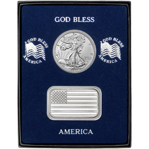 American Flag Silver Bar and Silver American Eagle 2pc Gift Set