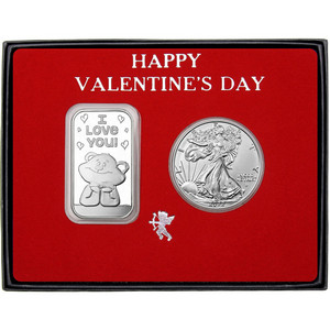 Valentine I Love You Bear Silver Bar and Silver American Eagle 2pc Box Set