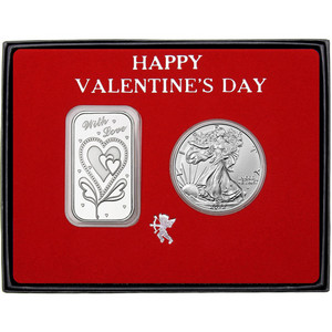 Valentine With Love Hearts Silver Bar and Silver American Eagle 2pc Box Set