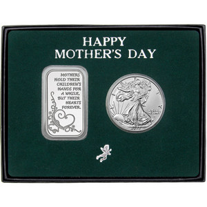 Happy Mother's Day Forever Hearts Silver Bar and Silver American Eagle 2pc Gift Set