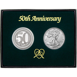50th Anniversary Year Silver Round and Silver American Eagle 2pc Gift Set