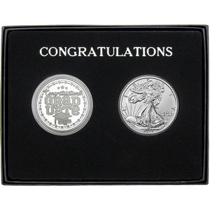 Congratulations Graduation 2019 Silver Round and Silver American Eagle 2pc Gift Set