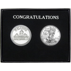 Congratulations Welcome Baby Silver Round and Silver American Eagle 2pc Box Set