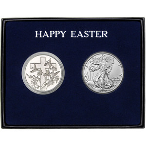 Happy Easter Religious Cross Silver Round and Silver American Eagle 2pc Gift Set