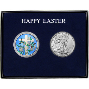Happy Easter Religious Cross Enameled Silver Round and Silver American Eagle 2pc Gift Set