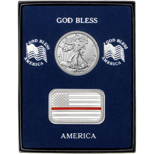 Enameled Red Line American Flag Silver Bar and Silver American Eagle 2pc Gift Set