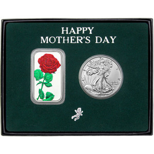 Happy Mother's Day Enameled Red Rose Silver Bar and Silver American Eagle 2pc Gift Set