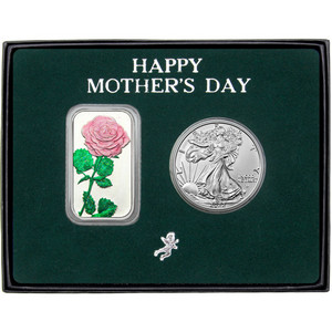 Happy Mother's Day Enameled Pink Rose Silver Bar and Silver American Eagle 2pc Gift Set