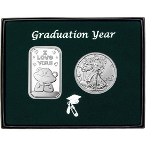Graduation Year I Love You Bear Silver Bar and Silver American Eagle 2pc Gift Set
