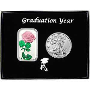 Graduation Year Pink Rose Enameled Silver Bar and Silver American Eagle 2pc Box Set