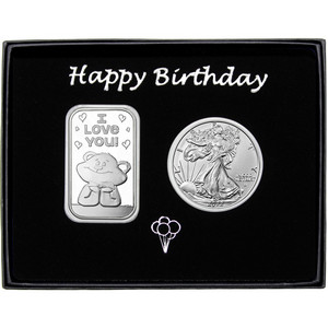 Happy Birthday I Love You Bear Silver Bar and Silver American Eagle 2pc Gift Set