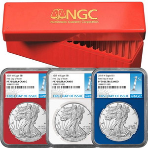 2019 W Silver American Eagle Coin PF70 UC FDI Red, White & Blue Core NGC 1st Label 3pc Set in Red NGC Box