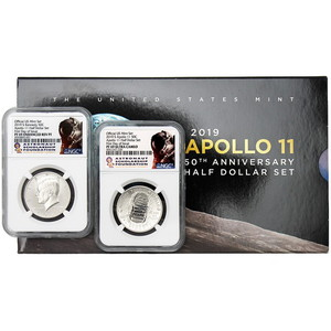 2019 S 50th Anniversary Apollo 11 Clad Half Dollar 2 Coin Set PF69 FDI NGC Astronaut Scholarship Foundation Label