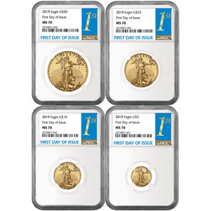 2019 Gold American Eagle 1oz ($50) 1/2oz ($25) 1/4oz ($10) and 1/10oz ($5) Ounce 4pc Set MS70 NGC First Day Issue Label