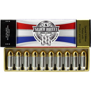 1oz Silver Bullet .45 Caliber Replica Gold & Rhodium Plated 10 Pack SilverTowne Mint