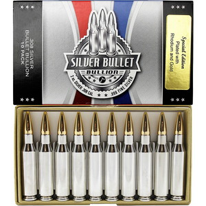 2oz Silver Bullet .308 Caliber Replica Gold & Rhodium Plated 10 Pack SilverTowne Mint