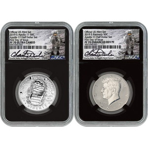 2019 S 50th Anniversary Apollo 11 Clad Half Dollar 2 Coin Set 70 FDI NGC Black Core Charlie Duke Signature Label